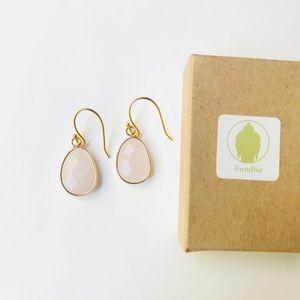 Rose Quartz Gold Drop Earrings